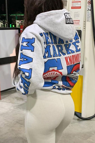 front_Sporty Hooded Collar Letter Pocket Light Heather Grey Sweatshirts & Hoodies