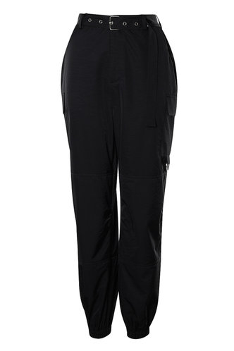 front_Cargo Chic Black Cargo Joggers