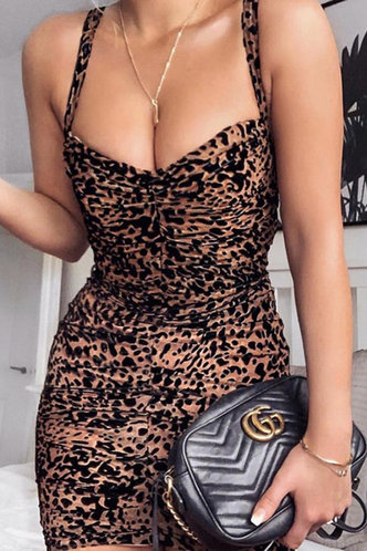 front_Lola Elsie Brown Leopard Print Bodycon Ruched Dress