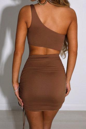back_Cornelia Ella Coffee Brown Drawstring Side Cotout Bodycon Dress