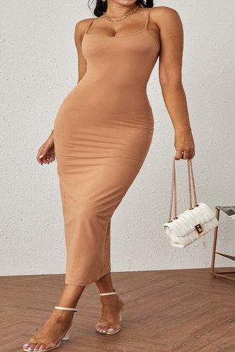 front_Shera Elvira Khaki Plus Bodycon Dress