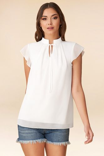 front_Petals Ivory Short Sleeve Top