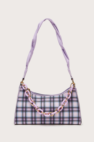 front_Daphne Edwina Purple Plaid Shoulder Bag