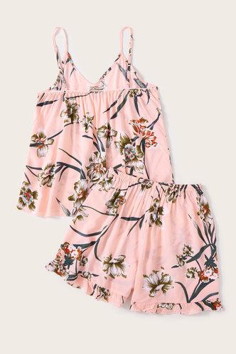 back_Eleanore Kuvan Pink Floral Print Loungewear Set