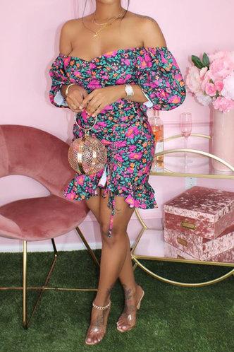 front_Theodora Eve Floral Print Off Shoulder Drawstring Dress