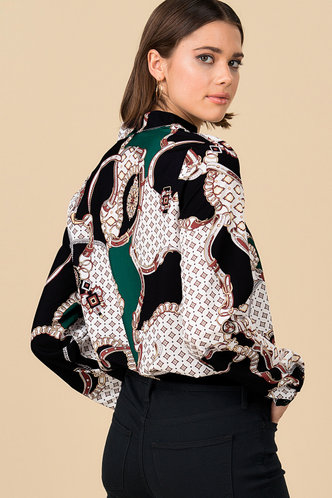 back_Lovely Links Multicolor Geometric Button Front Top