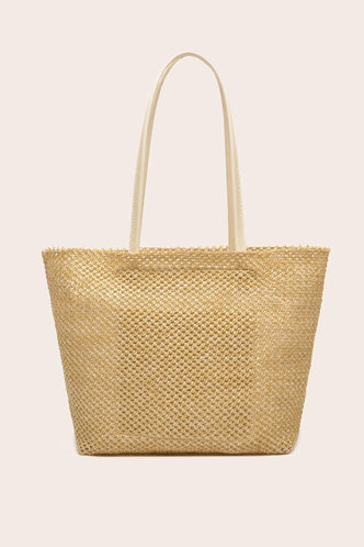 front_Solid Color Hollow Out Straw Beige Tote Bags