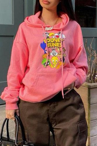 front_Cori Erin Pink Drawstring Pocket Hoodie
