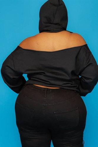 back_Isabella Eunice Black Plus Pocket Hoodie