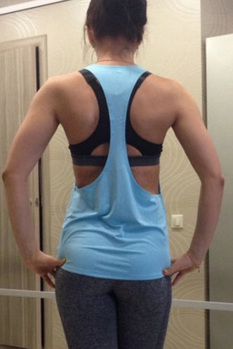 back_Cynthia Eden Blue Activewear Top