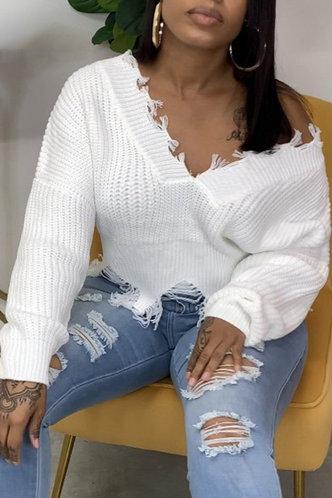 back_Tassel Off the Shoulder Dropped Shoulder Regular Fit White Plus Size Sweaters
