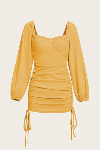 back_Dana Edith Yellow Knot Side Dress