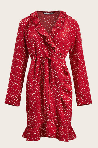 front_Hot Lips Burgundy Heart Wrap Dress