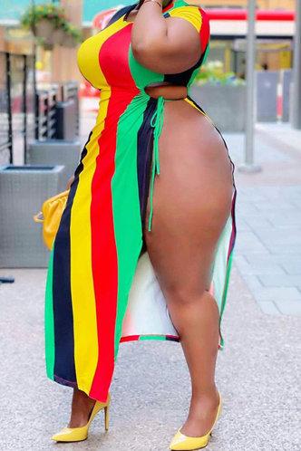 front_Edwina Hakil Striped Plus Split Hem Dress