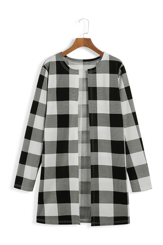front_Key To My Heart Black And White Plaid Open Front Coat