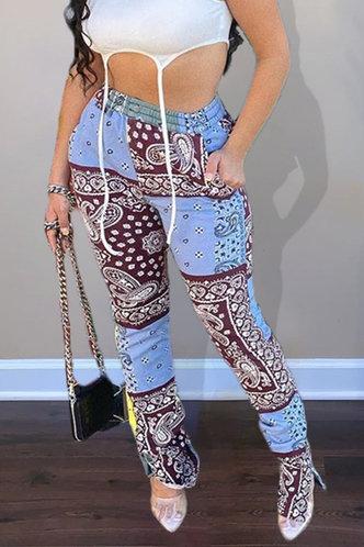 Myrna Ella Colorblock Paisley Print Pants