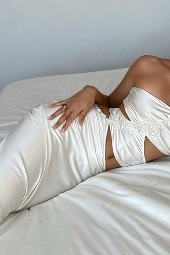 back_Greta Elvira White Halter Cutout Bodycon Dress