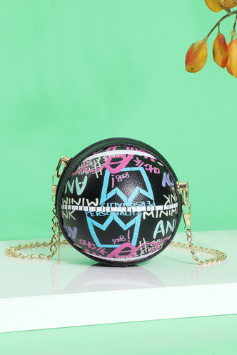 front_All Over Print Letter Print Crossbody Bags