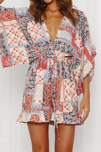 front_Evie Erica Floral And Plaid Romper