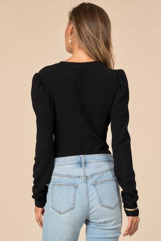 back_Form Fitting Black Slim Fit Top
