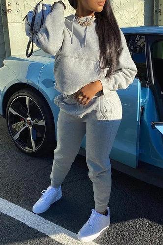 front_Pocket Pullover Light Grey Sweatshirt Sets