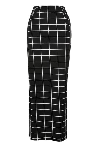 back_Off The Grid Black And White Plaid Pencil Skirt