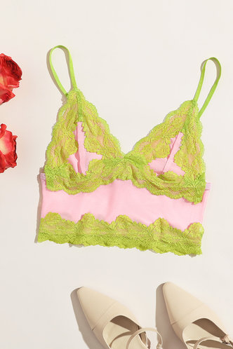 back_Delia Hakil Pink And Green Cami Crop Top