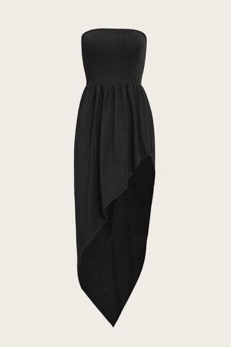 back_Diana Maksipes Black Tube Split Thigh Dress