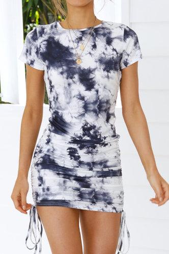 front_Erma Edith Grey Tie Dye Dress