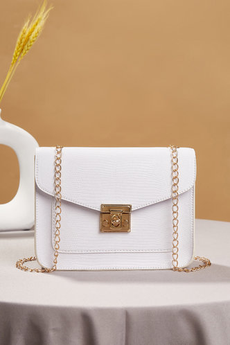 front_Casual Vacation Geometric Metallic Button White Crossbody Bags