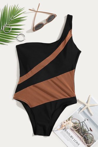 back_Essie Eleanore Black And Beige One-Piece Swimsuit