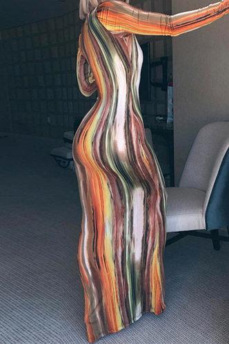 front_Mandy Elsa Brown Tie Dye Bodycon Dress