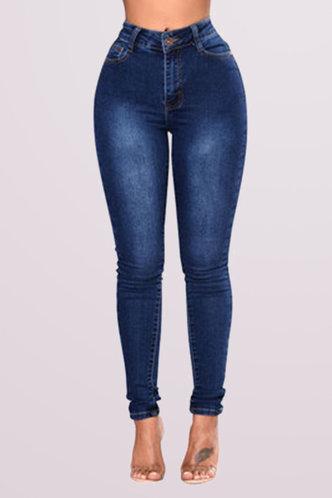 front_Mid Waist Pencil Pants Wash Dark Blue Women Jeans