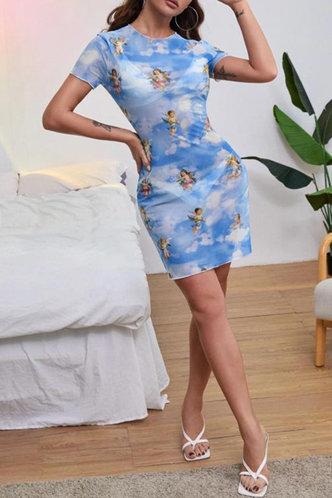 front_Hermosa Ostum Sky Blue Mesh Dress