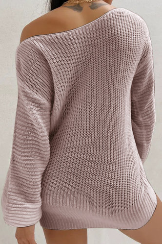 back_Asymmetrical Neck Solid Color Dropped Shoulder Pink Sweaters