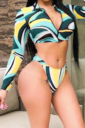 front_Elinor Elsie Colorblock Bikini With Kerchief