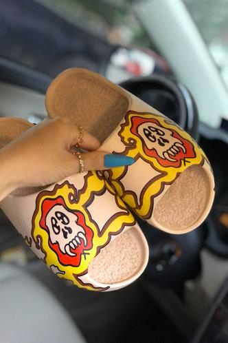back_Cartoon   Flat Open Toe Beige Slides & Flip Flops