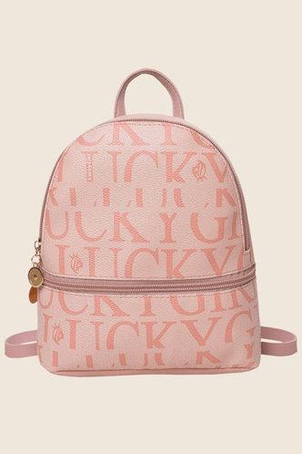 back_Roseanne Flugil Pink Letter Print Bagpack