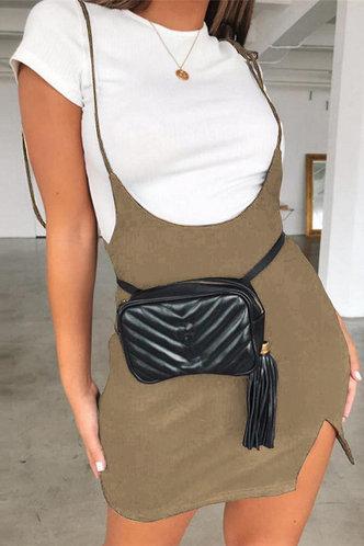front_Udo Taupe Split Hem Overall Dress