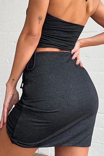 back_Hedda Kruf Black Split Hem Skirt