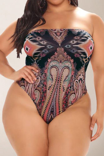 back_Hannah Kredeblo Multicolor Plus Size One-Piece Swimsuit