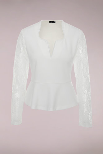 front_Sweet And Sour White Peplum Top