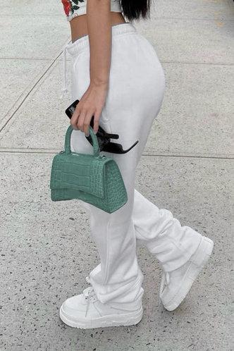 back_Plain Drawstring White Sweatpants