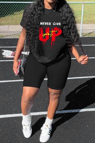 front_Maxine Erica Black Plus Size Shorts Set