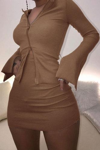 back_Regular Sleeve Long Sleeve Zipper Up Khaki Skirt Sets