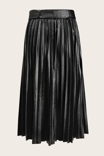 back_Zeva Black Pleated Leather Skirt