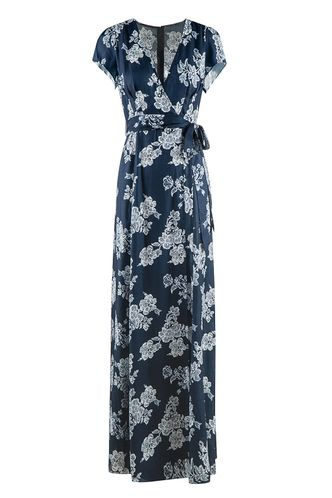 back_New and Fresh Navy Blue Floral Print Maxi Dress