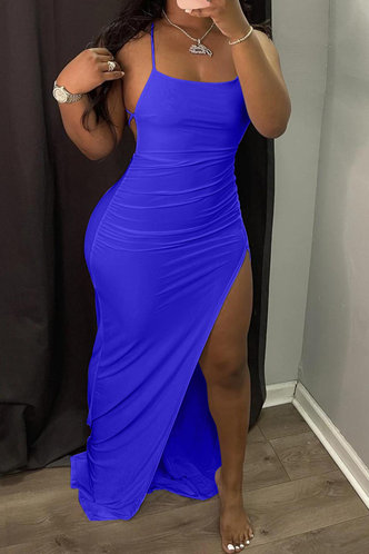 front_High Split Blue  Dresses