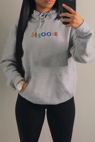 front_Casual Hoodie Letter  Light Grey Sweatshirts & Hoodies