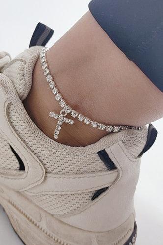back_Casual Rainstone Cross Silver Body Jewelry